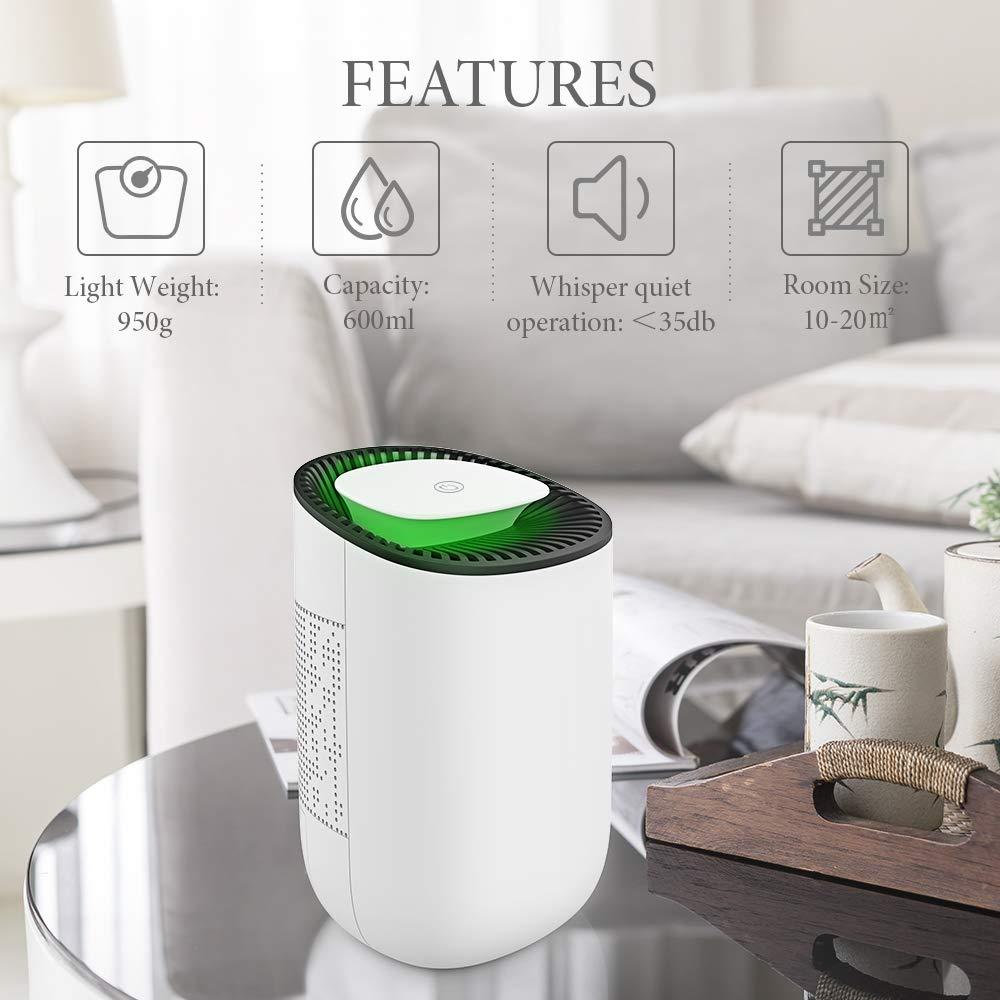 Baby Room 215 sq ft Home White Quiet Room Dehumidifier Portable Dehumidifier Bathroom Dehumidifier for Dorm Room Hysure Dehumidifier,600ml Compact Deshumidificador 1200 Cubic Feet