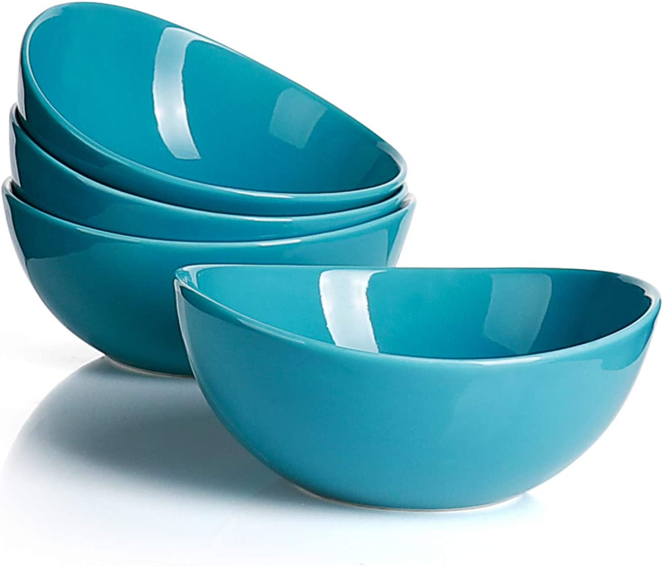 Sweese 103.407 Porcelain Bowls - 28 Ounce for Cereal, Salad and Desserts - Set of 4, Steel Blue