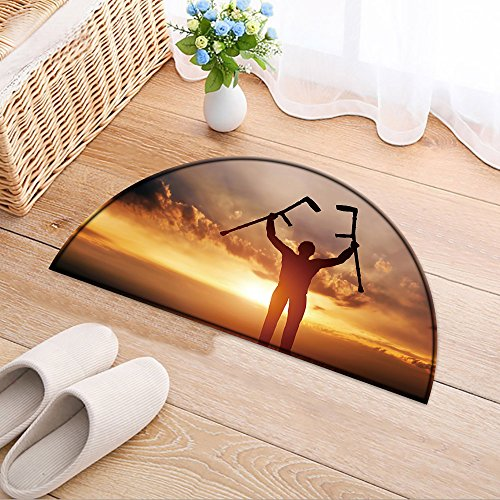 NALAHOMEQQ Half Round Door Mat A disabled man raising his crutches at sunset. Positive concept of cure, recovery, medical miracle, hope, Entrance Rug Floor Mats(35.4x23.6 INCH) by NALAHOMEQQ