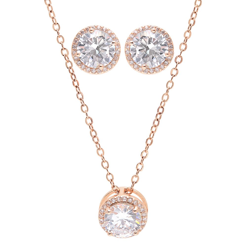 Bridesmaid Gifts - Pretty Halo Cubic-Zirconia Necklace & Earrings Set (18'', Rose gold), Set of 7