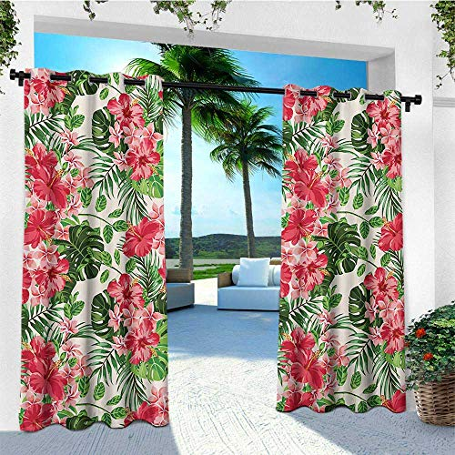 (leinuoyi Floral, Outdoor Curtain Wall, Tropical Botanic Flowers Leaves Ivy Island Hawaiian Image, Outdoor Privacy Porch Curtains W84 x L96 Inch Dark Coral Hunter Green Jade Green)