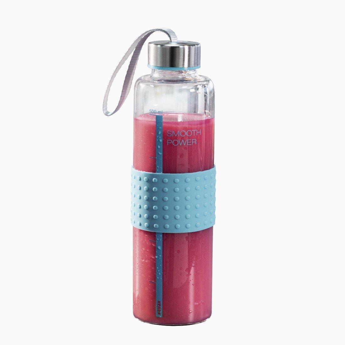 """Xavax Glas-Trinkflasche """"Smooth Power"""", 0,5l (Glasflasche aus Borosilikat, auslaufsicher, mit Schraubverschluss, Mengen-Markierung, Trageschlaufe; spülmaschinengeeignet) Glas Wasserflasche türkis 00111599"""