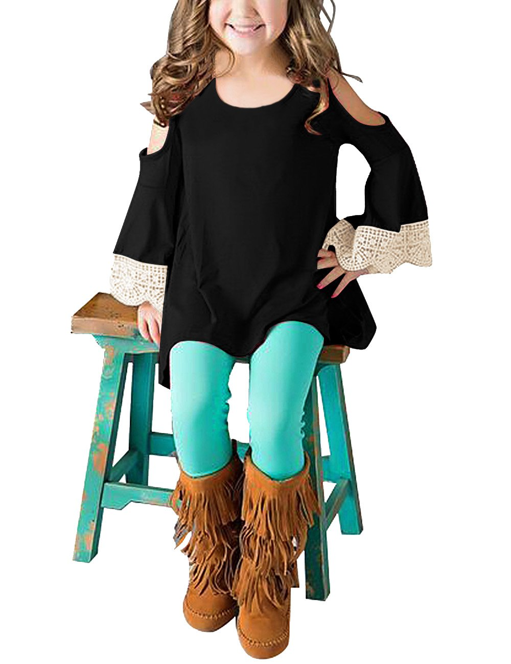 GRAPENT Girls Cold Shoulder Crochet Long Sleeve Casual Loose Tunic Shirt Irregular Top Blouses Black Size Medium (6-7 Years)