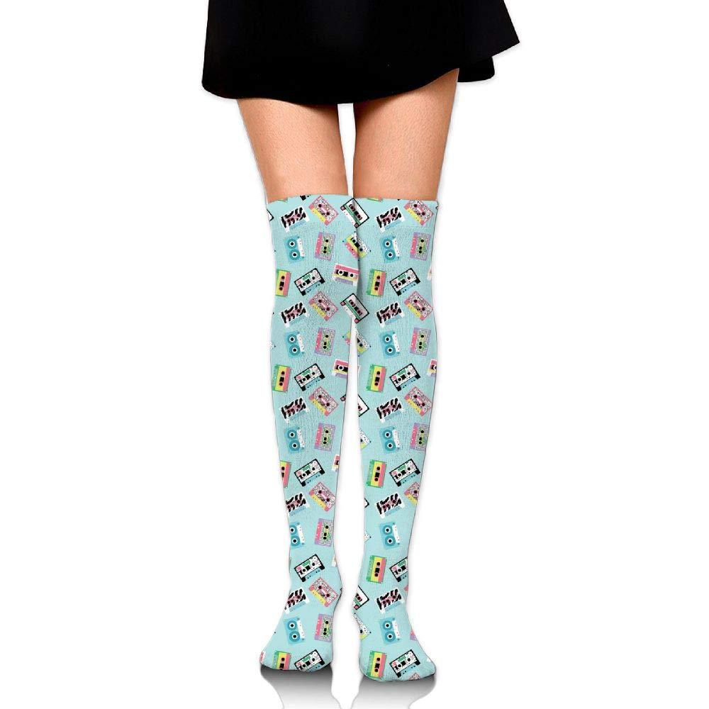 Womens//Girls Audio Tapes In Retro 80s Style Casual Socks Yoga Socks Over The Knee High Socks 23.6