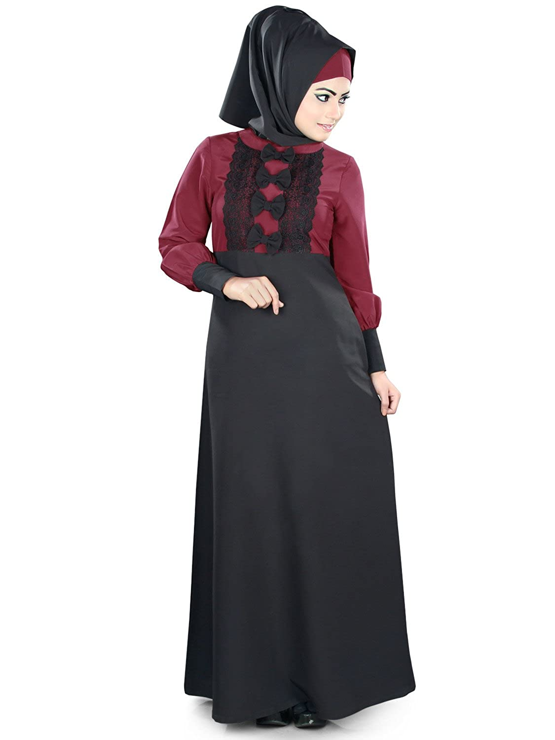 MyBatua Islamic Black & Maroon Gelegenheit & Formal Wear Burqa Abaya Jilbab AY-378