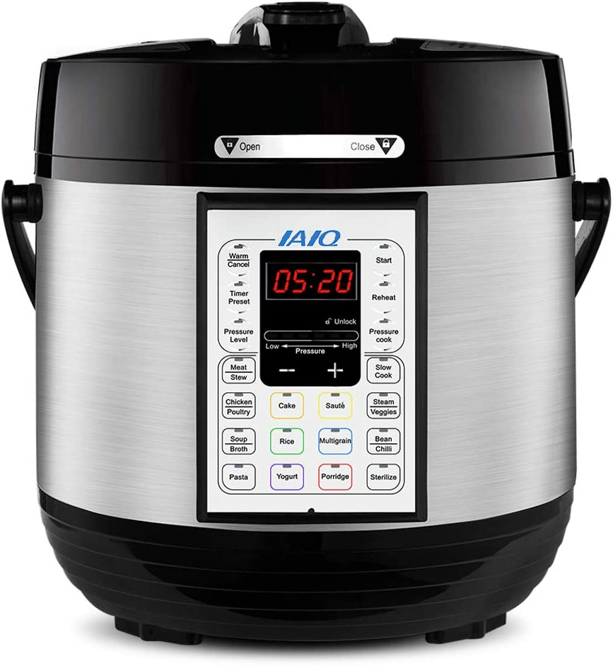 IAIQ 13-in-1 Electric Programmable 6 Quart One-Touch Pressure Cooker, Including Slow Cooker,Rice Cooker,Yogurt Maker,Steamer, Saute,Stainless Steel Pot