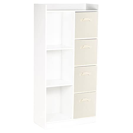 URBNLIVING White Tall Wooden 7 Cube Bookcase 4 Cream Drawers