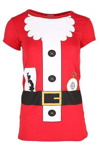 Christmas Top.Womens Christmas T Shirt Ladies Long Sleeve Xmas Santa Costume Jersey Dress Top