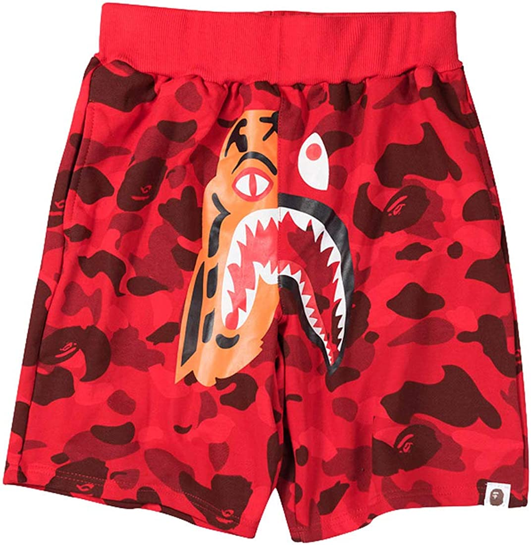 Athletic Pants Shark Pattern Camouflage Stitching Shorts Men Ape Bape Drawstring Sports Shorts