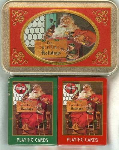 Playing Cards: 1998 Coca Cola Coke Santa ~ Two Decks ~ in a Collectible Tin