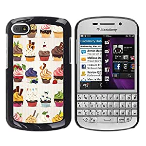 FlareStar Colour Printing Cupcake Bakery Sweets Dessert Cherry cáscara Funda Case Caso de plástico para BlackBerry Q10