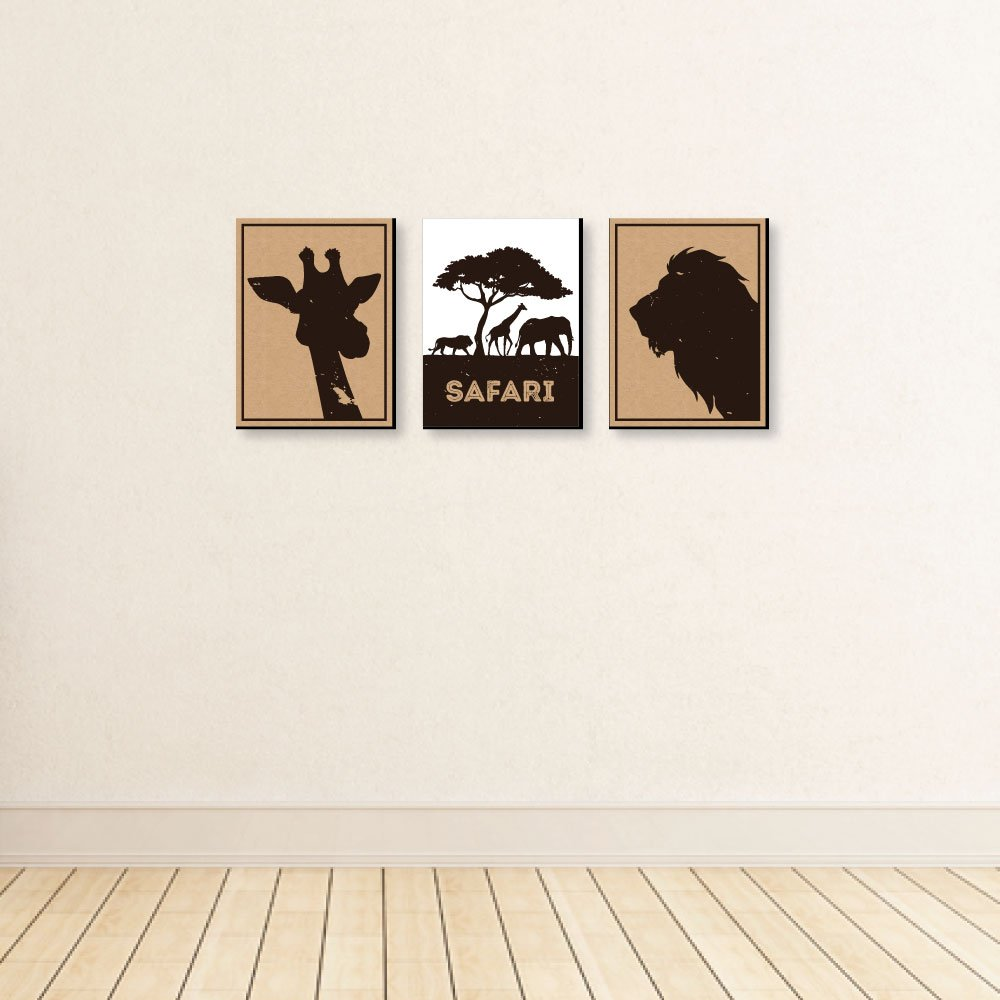 "7.5/"" x 10/"" Kids Room Decor /& Home Decorations Wild Safari Set of 3 Prints Jungle Animal Nursery Wall Art"