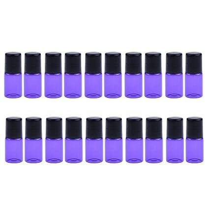 Homyl 20 piezas de Botellas de Vidrio para Aceite Suero Aromatherapy Laboratorios Maquillaje Belleza - Púrpura