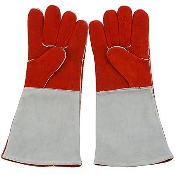 welding gloves Guantes De Soldadura Aislamiento Y Resistente Al Desgaste Soldador De Cuero Guantes De Trabajo Seguro Largo 15 75 Pulgadas,Red+Gray-L: ...