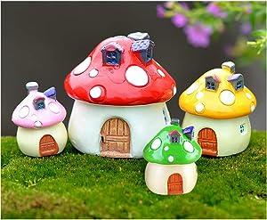 MAOMIA Miniature Fairy Garden Mushroom House 4 Pcs Micro Landscape Garden Outdoor Decor Home Decoration Plant Flower Pots Ornaments