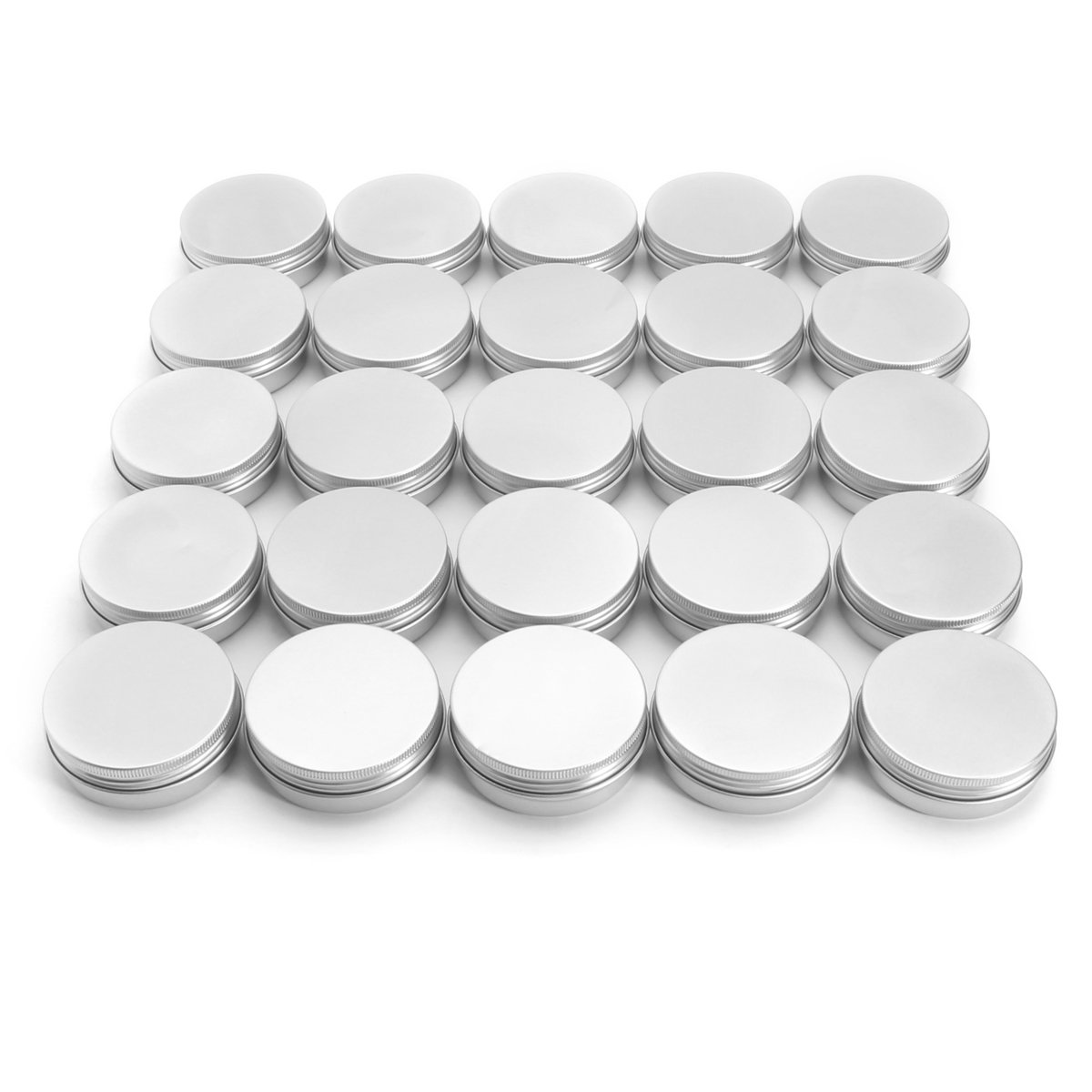 Round Can, Kisstaker 24 Pack Steel Round Aluminum Cans 2 oz Screw Top Lid Storage Beard Lip Balm Empty Can