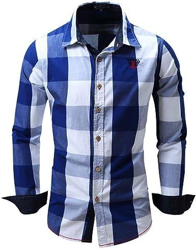 Camisa De Cuadros para Blusa Algodón De Hombre Casual ...