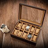 Eglaf Watch Box Watch Case for Men - 10 Slots Exquisite and Durable Watch Display Box - Solid White Wax Wooden Storage Organizer - Jewelry Box