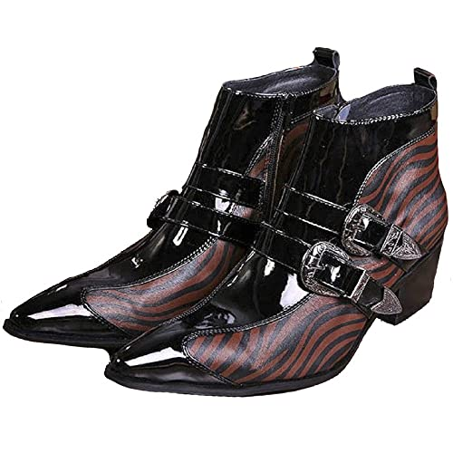 6ac6b3b609de Cover Plus Size 5-12 Brown Animal Print Genuine Leather Dress Zipper High  Top Ankle Boots Pointed Toe Mens Shoes