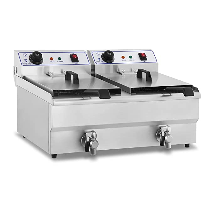 Royal Catering Freidora Eléctrica Doble Para Hostelería RCEF-16DH (Potencia: 2 x 3.500 Watt, Capacidad: 2 x 16 Litros, Con Grifo De Vaciado, ...