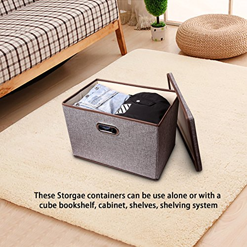 Large Linen Fabric Foldable Storage Container [2-Pack] with Removable Lid and Handles,Storage bin box cubes Organizer - Gray For Home, Office, Nursery, Closet, Bedroom, Living Room by Baseshop (Image #4)