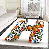 Letter H Customize Floor mats for home Mat Letter H Stacked from Gaming Balls Alphabet of Sports Theme Competition Activity Oriental Floor and Carpets 3'x5' Multicolor
