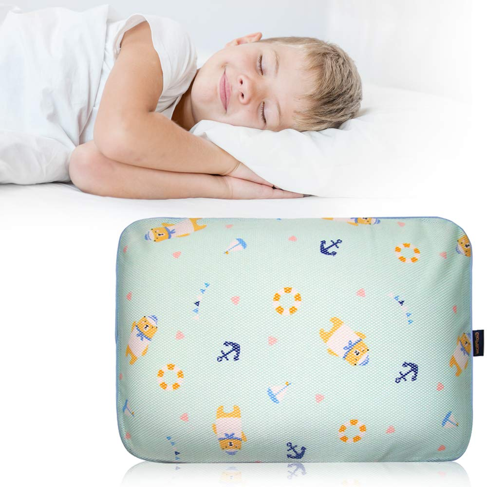 Gio Pillow 3D Air Mesh Pillow for Boys, Premium Head Shaping Pillow for Children, Flat Head Syndrome Prevention, Made in Korea [Marine Bear/Preschool Grade 2-5 Years] by Gio pillow