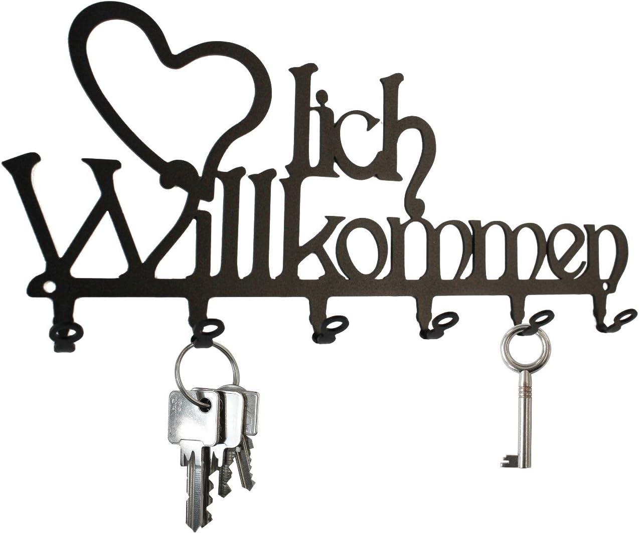 Hakenleiste Metall schwarz Schlüsselbrett ** Herzlich Willkommen ** 6 Haken