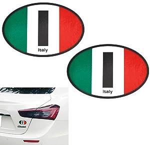 """iJDMTOY (2) 3.75"""" 95mm Reflective Italian Flag Letter I Decal Stickers Compatible With Fiat Alfa Romeo Ferrari Maserati Lamborghini, etc Windshield Bumper Fender or Interior"""