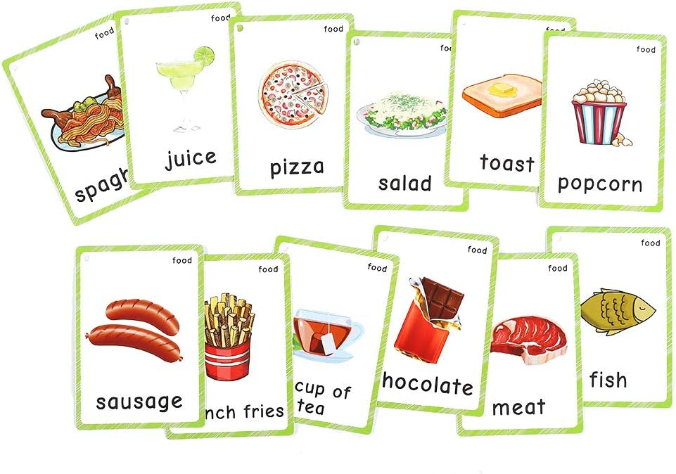 FieldDream 35Pcs/Set Food Child Flash Cards English Learning Toys Baby Card for Kids/Beginners/Toddler Gifts Pre-Kindergarten with Ring