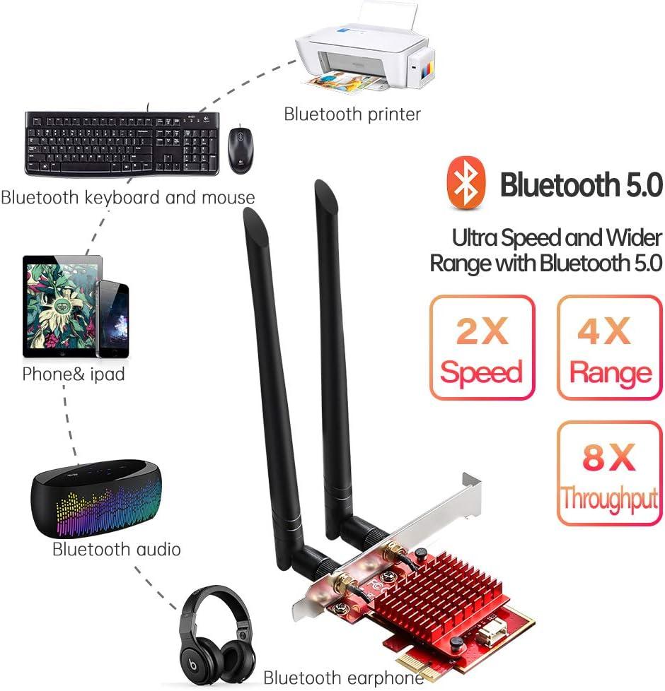 2400Mbps+574Mbps Carte sans fil double bande avec Bluetooth 5.0+dissipateur de chaleur compatible Windows 10 64 bits uniquement TEROW AX200 WiFi 6 cartes sans fil PCIe Carte r/éseau pour PC