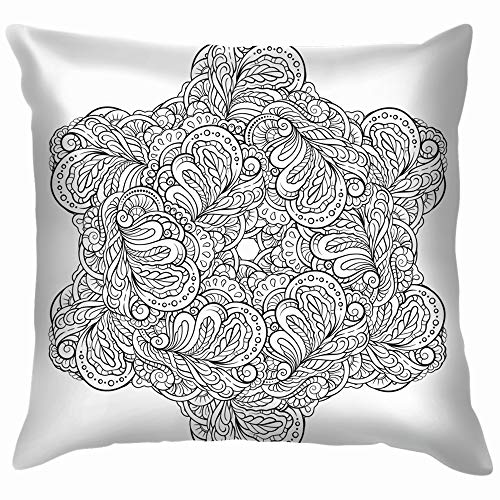 Abstract Black White Snowflake Mandala Throw Pillows Covers