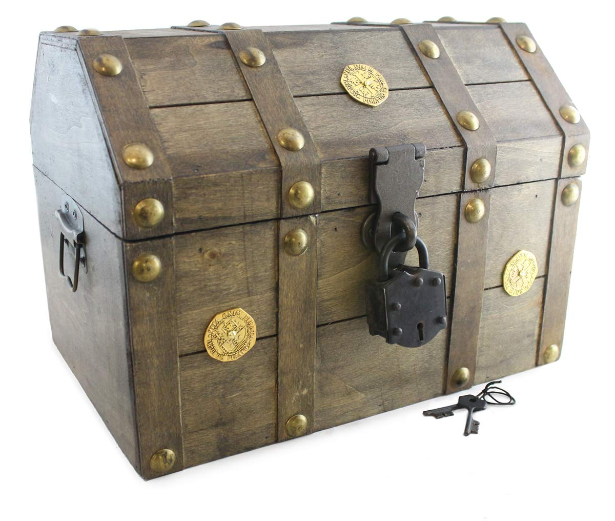 Well Pack Box Pirate Treasure Chest Box 13''x 9''x 9'' with Antique Lock Key Distressed Brown (Large) by Well Pack Box