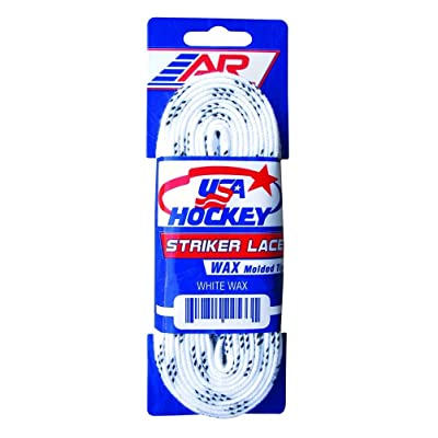 "A&R New 2 Pair USA Hockey Striker Waxed Molded Tip Skate Laces White 72""-132"" : Sports & Outdoors"