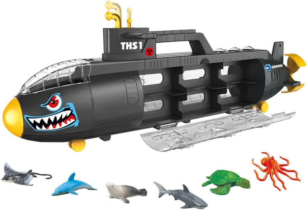 Vincent&July Family Shark Storage Mini Remote Control Boat Ship Military Model Electronic Water Toy Waterproof Diving for Swimming Pool, Fish Tank Kids Gift with 6 Ocean Sea Animal Boat Set for Kids