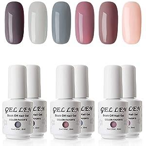 Gellen Gel Polish Set - Nude Gray Series 6 Colors Nail Art Gift Box, Soak Off UV Nail Gel Kit 8ml