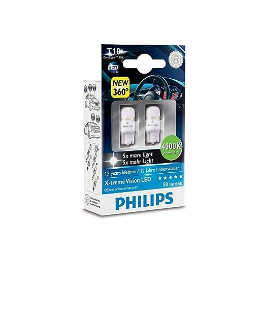 132 opinioni per Philips 127994000KX2 X-treme Vision LED T10 4000K CeraLight, Diffusione Uniforme