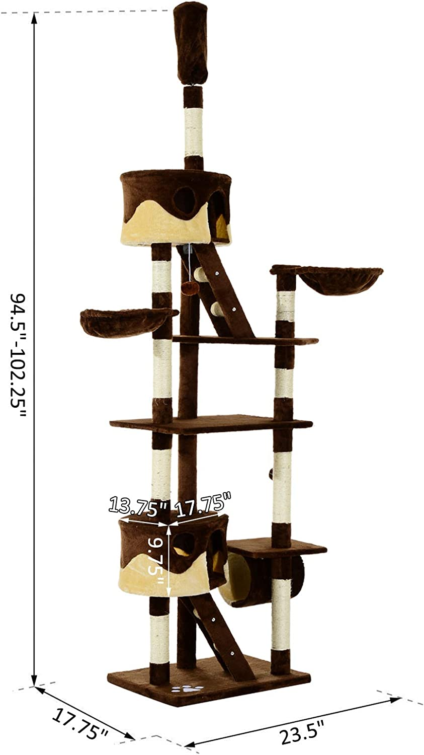 Pawhut 94 102 Huge Cat Tree Ceiling High Cat Condo Scratching Post Activity Center Multi Level Play House Brown Amazon Ca Pet Supplies