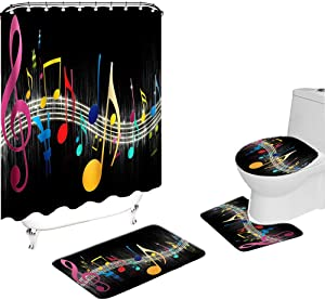 VividHome 4 Pcs Music Shower Curtain Set Musical Notes Cool Black Shower Curtains Polyester Waterproof Bathroom Decor Curtain with Toilet Lid Cover Non-Slip Mat Shower Rugs