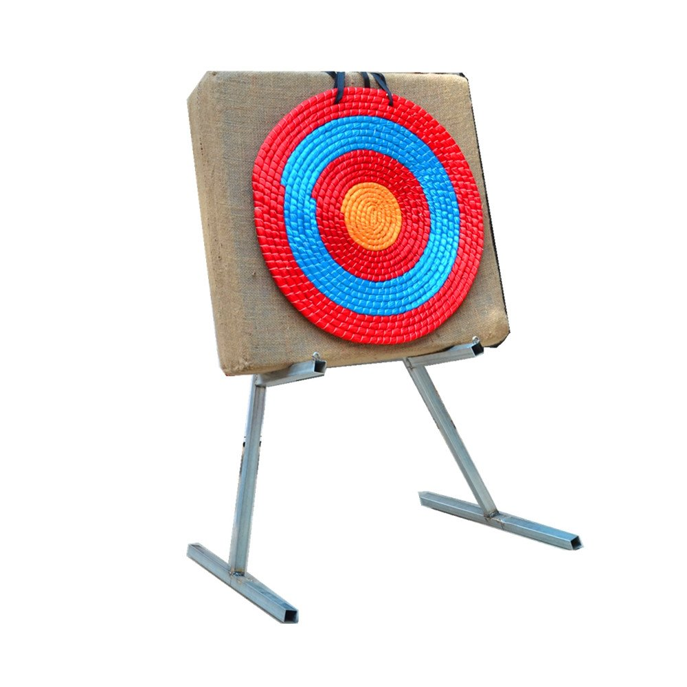 Popshot(TM) 60x60x6cm Traditional Solid Straw Archery Target with Foldable Metal Target Stand for Outdoor Sports Archery Shooting Bows and Shooting Darts