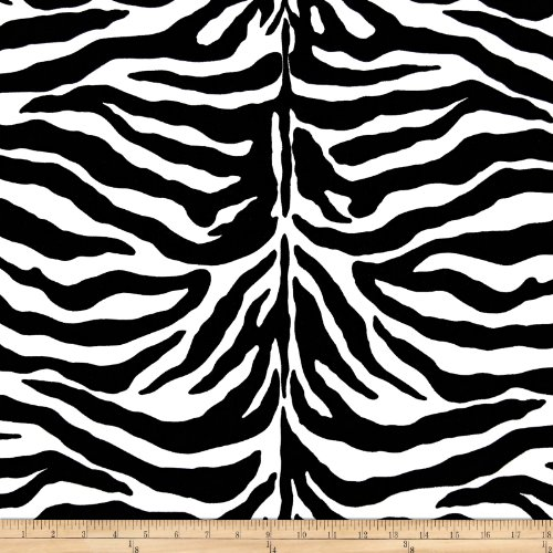 Poly/Cotton Twill Zebra Print Black/White Fabric By The Yard - Black White Upholstery Fabric