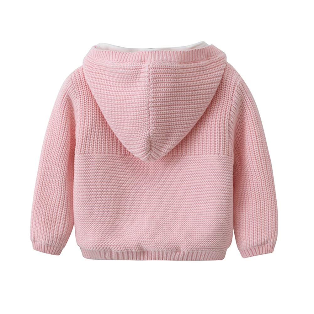 Dragon Honor Baby Girls Solid Long Sleeve Sweaters Cardigan Warm Outerwear Jacket Thick Coat