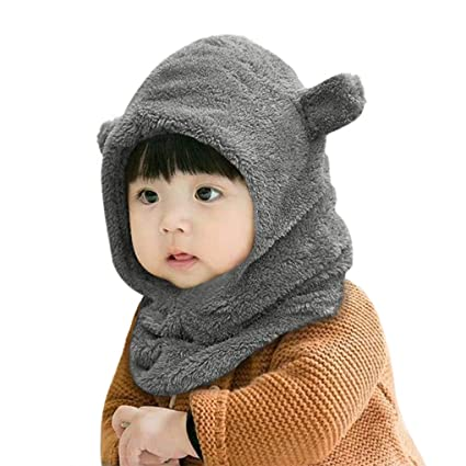 Baby Winter Hat Scarf Earflap Hood Caps Neck Warmer Skull Caps with Ears  Toddler Infant Beanie e0468b1af9ec