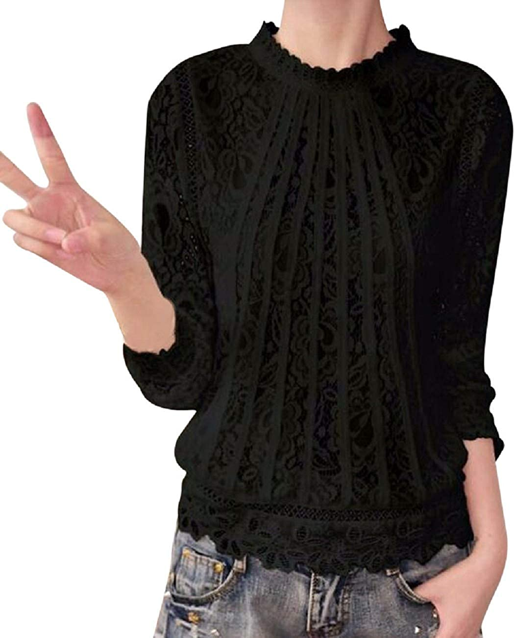 Tsmile Women Lace Splicing Long Sleeve Shirts Round Neck Solid Casual Slim Fit Pullover Tops Blouse T-Shirt
