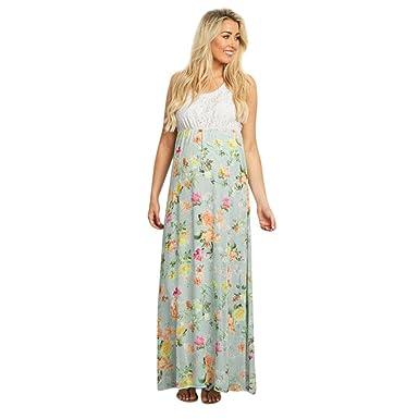 5d21ae871ba1a Ruhiku GW Women Pregnancy Dress Fashion Floral Lace Sleeveless Maternity  Maxi Dresses Beach Wear (S