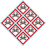 "Product review for GHS Toxic, Skull, Skull and Crossbones, pictogram, 2""W x 2""H decal, label, kit OSHA Compliant, Vinyl Sticker, sheet, 9 of the decals per sheet"