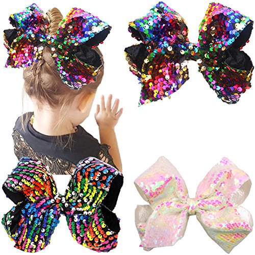 9710c2a83 8 Inches Bows For Girls Glitter Sequins Boutique Big Hair Bow Clips For  Teens Toddlers Kids