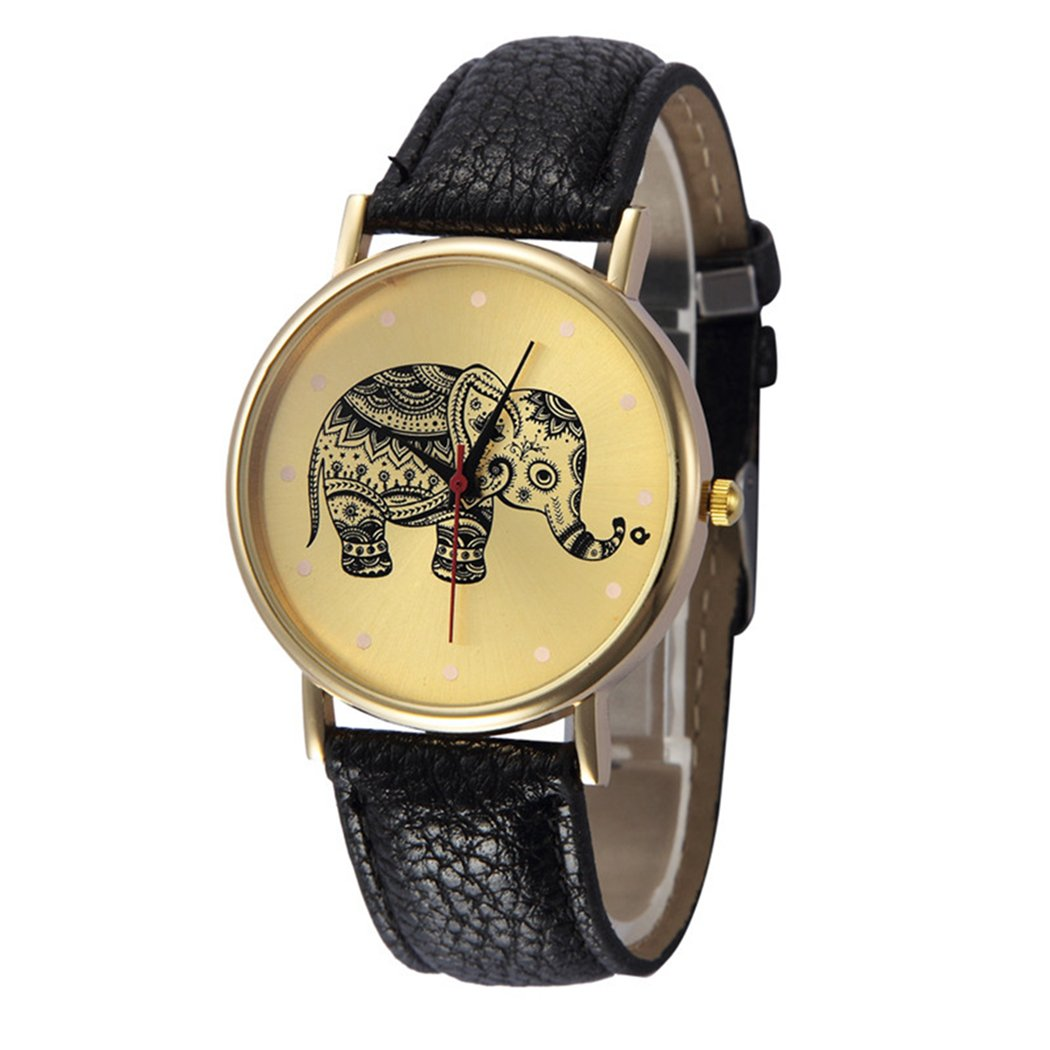Womens Elephant Watches,COOKI Unique Analog Fashion Lady Watches Female watches on Sale Casual Wrist Watches for Women,Round Dial Case Comfortable Leather Watch-H33 (Black)