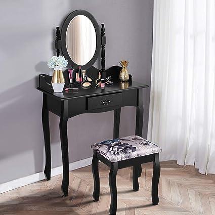 Amazon Com Giantex Vanity Makeup Table Set Girls Chic Modern Style