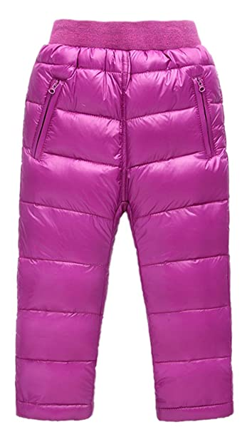 009634474 Roffatide Baby's Down Pants Puffer Trousers Windproof Kids Boys Girls Snow  Winter Fuschia Size 90